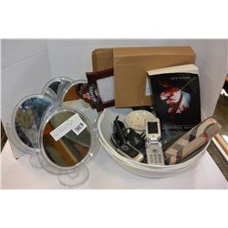 LOT OF VANITY MIRRORS, NEW BOWLS, & HOUSEHOLD ITEMS