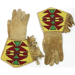 Beaded on leather gauntlets cloth lined