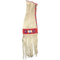 Native tanned leather pipe bag with