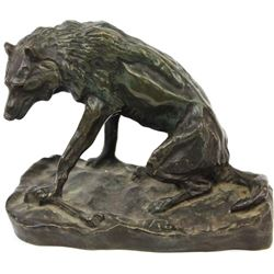 """""""Wolf with Bone"""" table top bronze by CM Russell"""