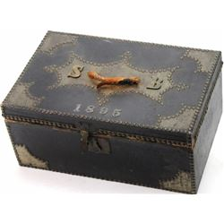 Antique tacked document box with purported
