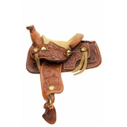 Miniature leather saddle floral stamped with
