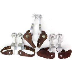 Collection of 3 pair Crockett aluminum spurs
