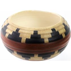 Interesting signed pottery bowl in the form of