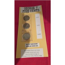 George V 5 cents 1930, 1931, 1932