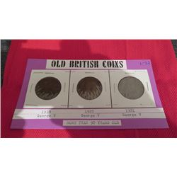 Old British large pennies 1918,1920, 1921, Historic collectibles