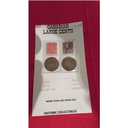 Canadian large cents 1910, 1913 more than 100 years old