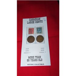 Canadian large cents 1916, 1919