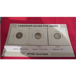 Silver 5 cents -1872, 1900 and 1904