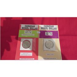 Canadian nickel dollars 1970 and 1976