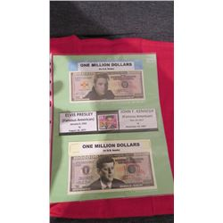 Famous Americans John F Kennedy and Elvis on one million dollar bank notes