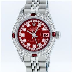 Rolex Stainless Steel Red String Diamond VVS DateJust Ladies Watch