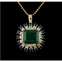 14KT Rose Gold 7.68 ctw Emerald, Sapphire and Diamond Pendant With Chain