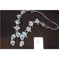 """Unmarked Squash Blossom Necklace -Sterling Silver -Turquoise -17"""" long"""