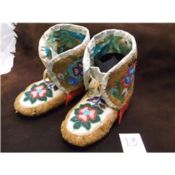 """Cree Beaded High Top Moccasins  11""""L"""