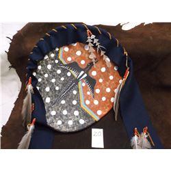 "Elk Hide Brule Sioux Battle Shield, Hand Painted by Nighthawke 19"""