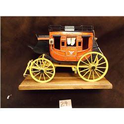 "Marked Oscar Cortes, Miniature Overland Stageline, US Mail Stagecoach, Handmade, 13""L x 6""W x 9"""