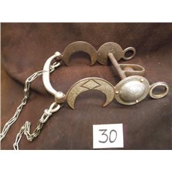 Marked GS Garcia Silver Inlaid Bit, Large Concho Crescent Moon Cheek, Half breed Mouth