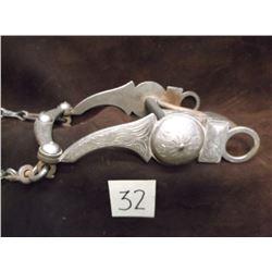 Unmarked Silver Overlaid Bit, Arizona Cheek –Spoon Mouth, Slobber Bar –Rein Chains
