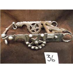 Marked Garcia Saddlery Co., Salinas Calf. Silver Inlaid Bit, Santa Barbara Cheek –Spade Mouth