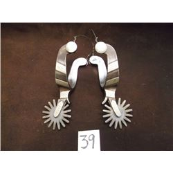 Marked Crockett Silver Overlaid Spurs –Heavy Banded, 16 Point Rowels