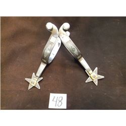 Unmarked Canon City Prison, Silver Inlaid Spurs –Double Mounted, Confederate Flag Pattern
