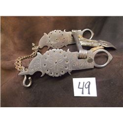 Unmarked LD Stone Engraved Bit, Spade Mouth, Marked Forge Steel, Double Slobber Chains