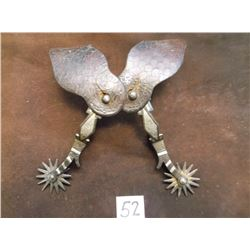 Marked Squashed MM, Mike Morales Silver Inlaid Spurs, 14 Point Rowels, Straps