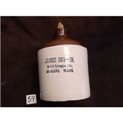 "Marked James Durkin, Mill + Sprague Sts. Spokane, Wash, Crock Jug, Chip in Spout, 10.5""H x 7""W"