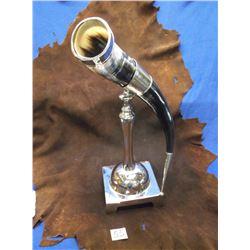 "Antique Silver Plate Horn Cornucopia, Base 6.5"" x 6.5"", 22"" High"