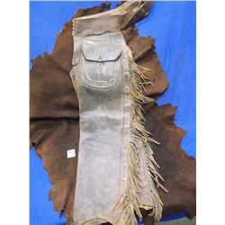 Marked The AA Kraft Co. Spokane, Stovepipe Chaps, Buck stitched –Tooled Belt, Pockets –Fringed