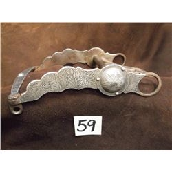 Unmarked Silver Overlaid Bit, California Shank –Spoon Mouth, Slobber Bar