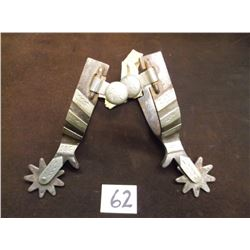 Marked Crockett, Silver Overlaid Spurs, 9 Point Rowels