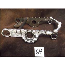 Marked B/B 1488, Silver Inlaid Bit, Santa Barbara Cheek, Half breed Mouth –Slobber Bar