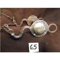 Unmarked Silver Inlaid Bit, S-Shank –Grazing Bit, Slobber Bar –Rein Chains