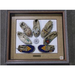 """7 Beaded and Quilled, Plains Indian Moccasins, Framed, 30.5""""L x 27""""H"""
