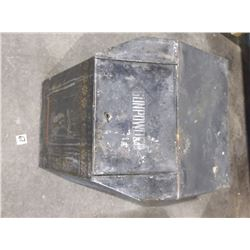 "1870's Tin Gunpowder Magazine, Found at old trading post in Northern Mt. 18""L x 17""W x 20""H"