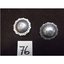 """Marked Visalia Stock Saddle Co. SF, Sterling Silver Conchos -1.62"""""""
