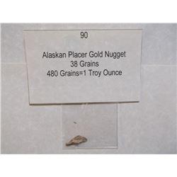 Alaskan Placer Gold Nugget, 38 Grains, 480 Grains=1 Troy Ounce