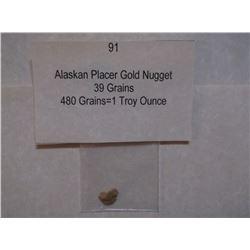 Alaskan Placer Gold Nugget, 39 Grains, 480 Grains=1 Troy Ounce
