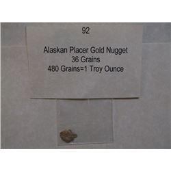 Alaskan Placer Gold Nugget, 36 Grains, 480 Grains=1 Troy Ounce
