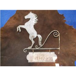 """Antique Metal Sign, Kings Printed on Sign, 22"""" x 16"""""""