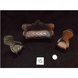 "Victorian Doll House Furniture, Cast Iron, Chairs 4.5"" x 2.5"", Sofa 4"" x 6.5"""