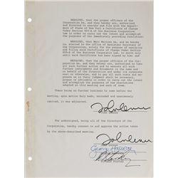 Beatles Signed Document: Lennon, Harrison, Starr