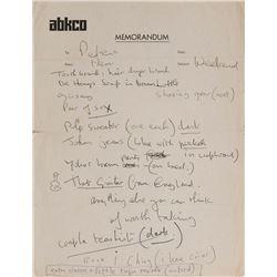 John Lennon Handwritten List