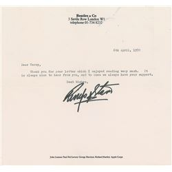 Ringo Starr Typed Letter Signed
