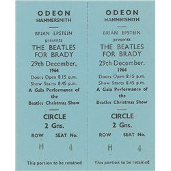 'Beatles for Brady' Pair of 1963 Ticket Stubs