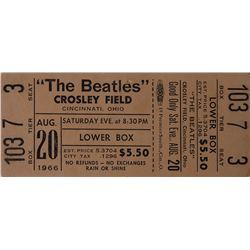 Beatles 1966 Crosley Field Unused Concert Ticket