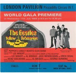 Beatles Yellow Submarine Oversized Premiere Movie Ticket