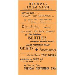 Beatles 1962 Heswall Jazz Club Handbill